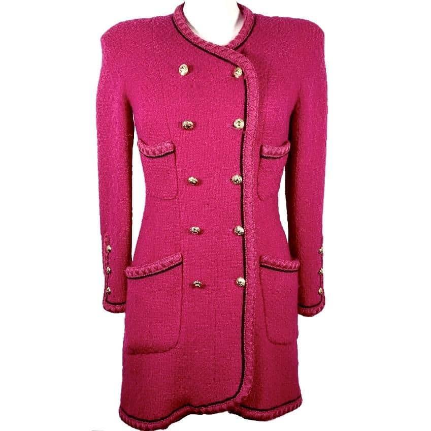 Chanel cappotto vintage in tweed di lana fucsia, 40