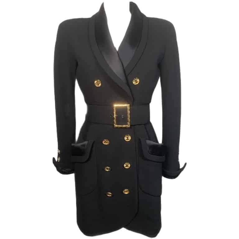 Chanel cappottino nero doppiopetto, 40
