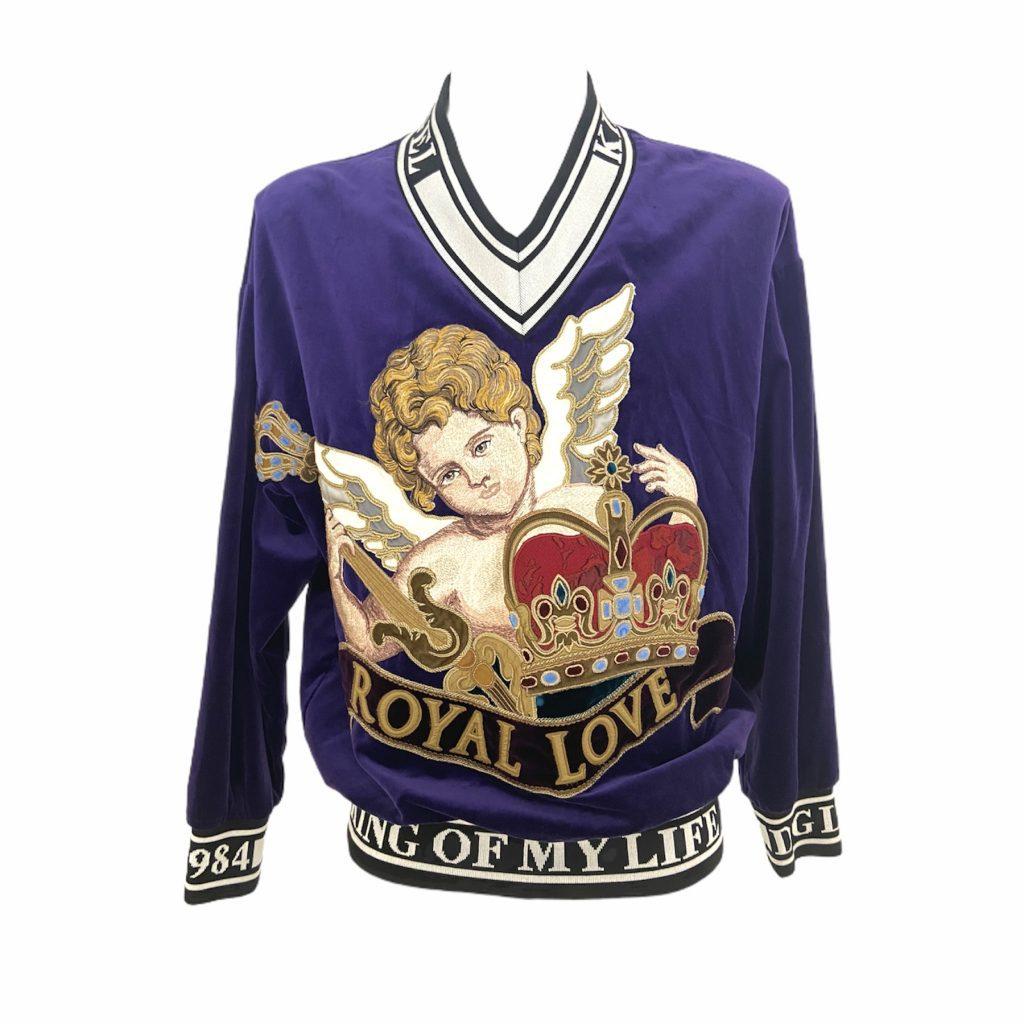 Dolce & Gabbana felpa in velluto viola con ricamo Angelo, 46