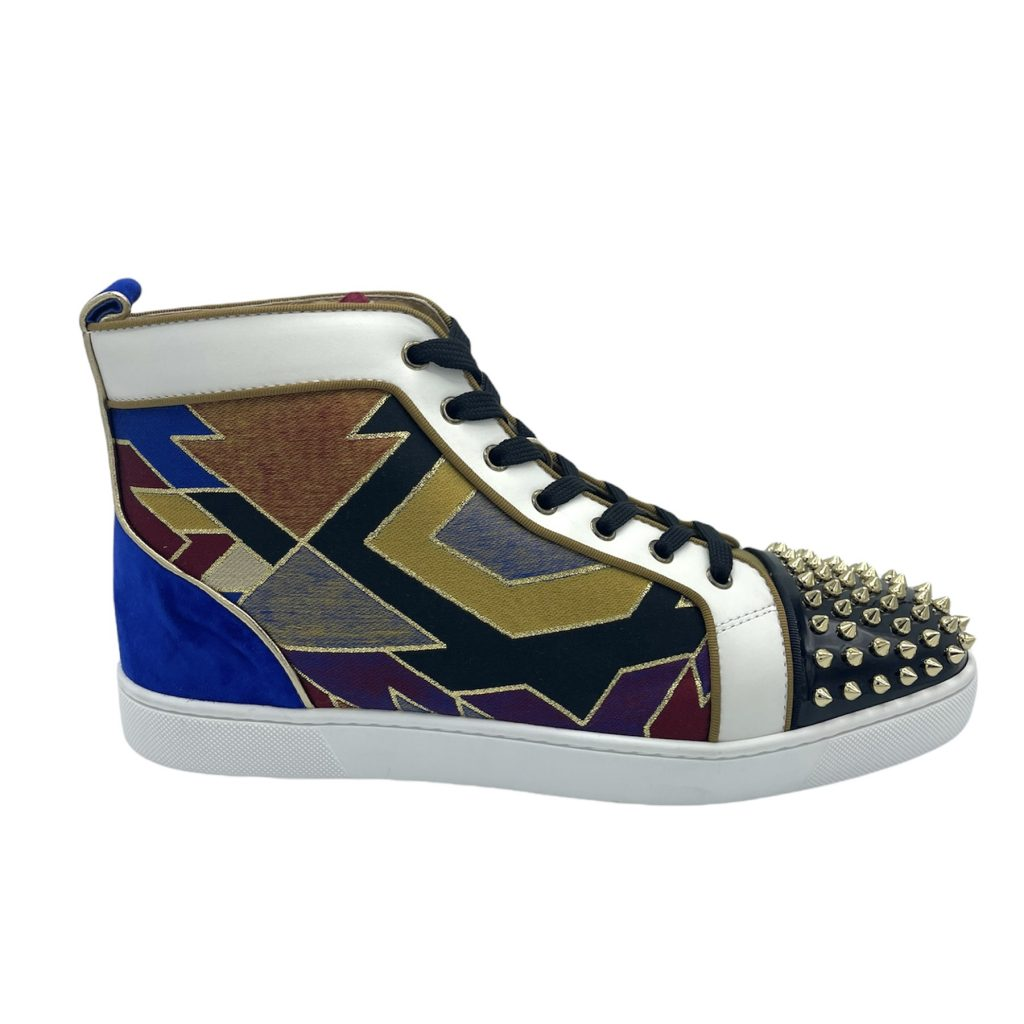 Louboutin sneaker in tessuto patchwork multicolore, 45